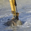 Stock Photo: Dredging harbor with excavator