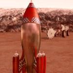 Retro rocket on Mars — Stock Photo #46797063