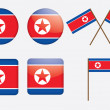 Badges with flag of North Korea — Stock Vector #12010870