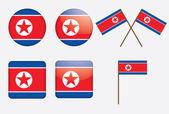 Badges with flag of North Korea — Stock Vector