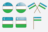 Badges with flag of Uzbekistan — Stock Vector