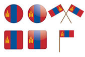 Badges with flag of Mongolia — Stock Vector