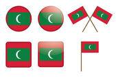 Badges with flag of Maldives — Stock Vector