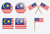 Badges with flag of Malaysia — Stock Vector