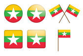 Badges with flag of Burma — Stock Vector