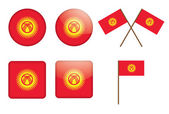 Badges with flag of Kyrgyzstan — Stock Vector