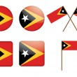 Badges with flag of East Timor — Vettoriali Stock