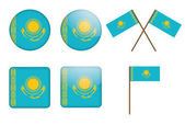 Badges with flag of Kazakhstan — Stock Vector