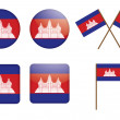 Badges with flag of Cambodia - Stock Vector