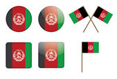 Badges with flag of Afghanistan — Stock Vector