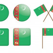 Badges with flag of Turkmenistan — Imagens vectoriais em stock