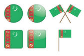 Badges with flag of Turkmenistan — Stock Vector
