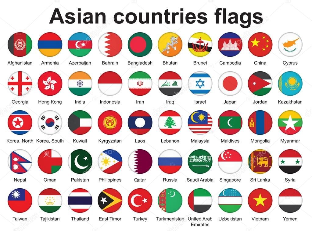 Buttons with asian countries flags stock illustration