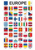 Botones con banderas de europa — Vector de stock