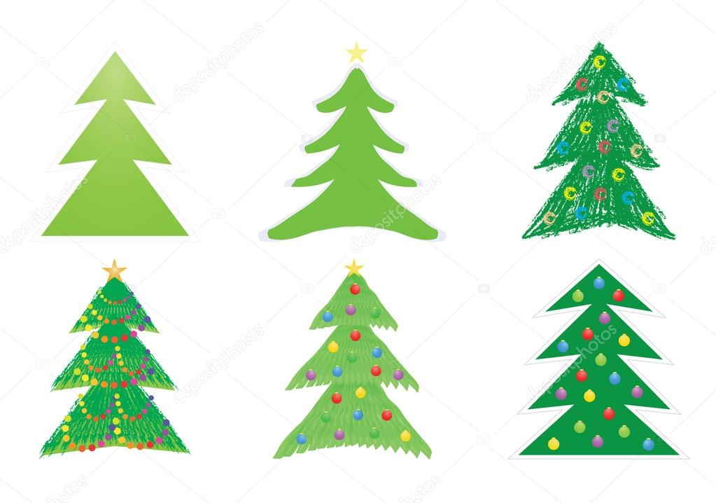 Set of Christmas tree drawings vector illustration — Stock Vector #12858906