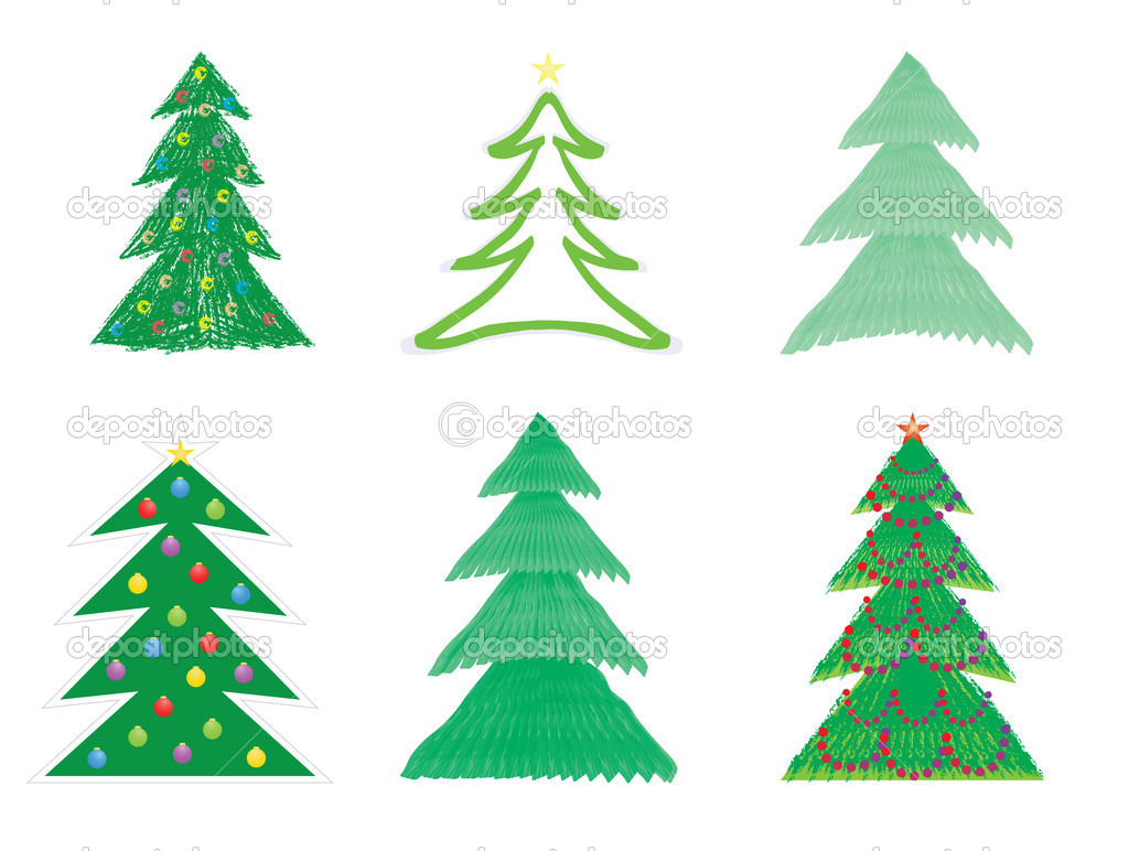 Set of Christmas tree drawings vector illustration — Stock Vector #12858921