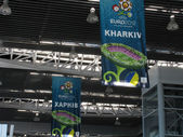 Euro 2012 posters in airport — Foto de Stock