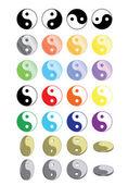 Yin yang symbols — Stock Vector