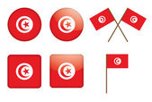 Badges with flag of Tunisia — Stock Vector