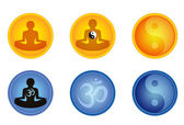 Set of meditation signs — Stock Vector