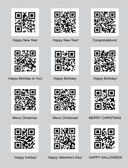QR codes with congratulations — Cтоковый вектор