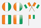 Badges with flags of Ivory Coast — Stock Vector