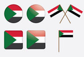 Badges with flag of Sudan — Stock Vector