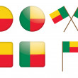 Badges with flag of Benin - Imagen vectorial