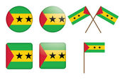 Badges with flag Sao Tome and Principe — Stock Vector
