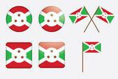 Badges avec le drapeau du burundi — Vecteur