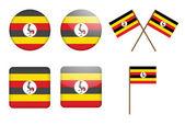 Distintivi con la bandiera dell'uganda — Vettoriale Stock