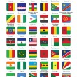 Stock Vector: Push buttons with African countries flags