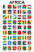 Push buttons with African countries flags — Stock Vector