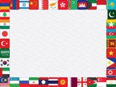 Aziatische landen vlag pictogrammen frame — Stockvector