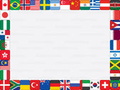Background with world flag icons frame — Stock Vector