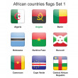 African countries flags set 1 - Stock Vector