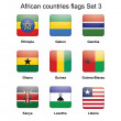African countries flags set 3 — Stock vektor
