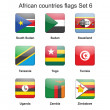African countries flags set 6 — Stock Vector