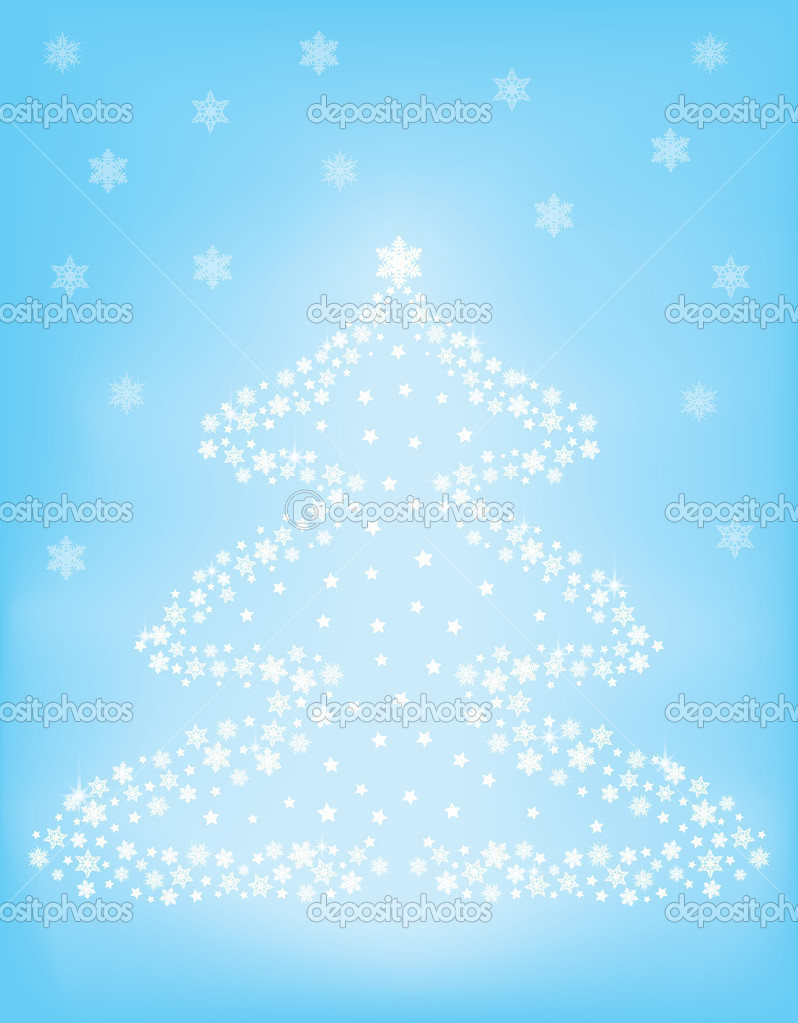 Snowflakes Christmas tree over blue background vector illustration — Stock Vector #15532501