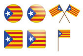 Badges with flag of Catalan independentist — Stock Vector