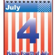 Stock Vector: Calendar with Fourth of July date