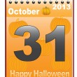 Calendar with Halloween date — Stock Vector