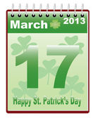 Calendar with St. Patricks Day date — Stock Vector