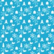 Stock Vector: Blue seamless Christmas pattern