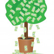 Cash tree with falling dollars — Stock Vector