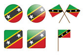 Badges with flag of Saint Kitts and Nevis — Stockvektor