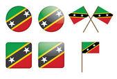 Abzeichen mit flagge von saint kitts und nevis — Stockvektor