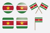 Badges with flag of Suriname — Stock Vector