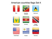 American countries flags Set 4 — Stock Vector
