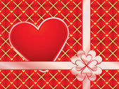Gift wrapper with red valentine — Stock Vector